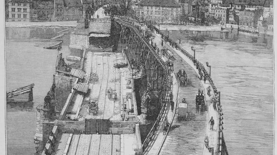 La restauration du pont Charles après de l'inondation en 1890,  photo: repro Světozor,  vol. 27,  iss. 9,  Janvier 13,  1893,  public domain