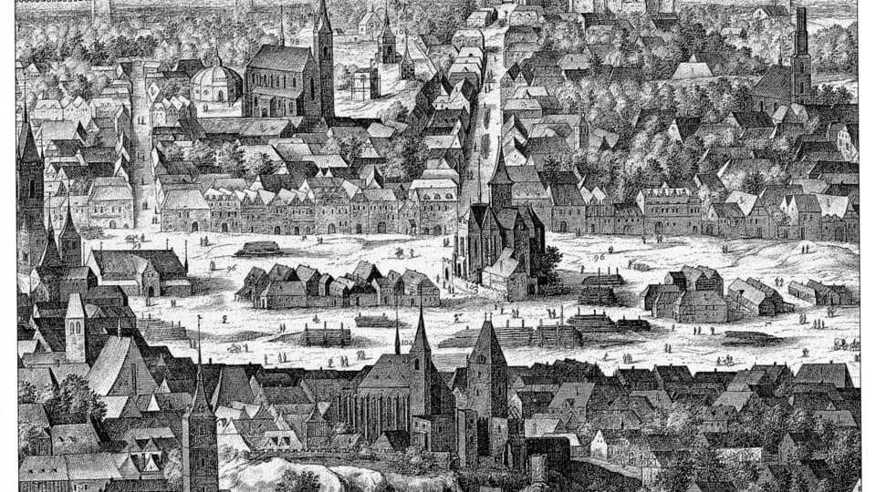 La Chapelle du Corps du Dieu au milieu de la place Charles en 1606,  source: Philipp van den Bossche/Prospectus Sadeler,  public domain