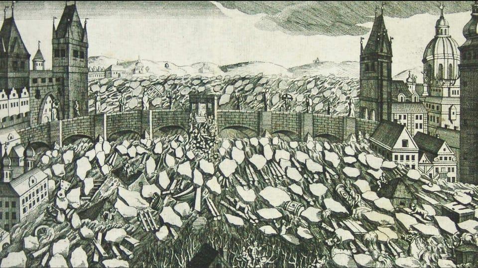 Des glaçons en face du pont Charles lors de l'inondation en février 1784,  source: public domain