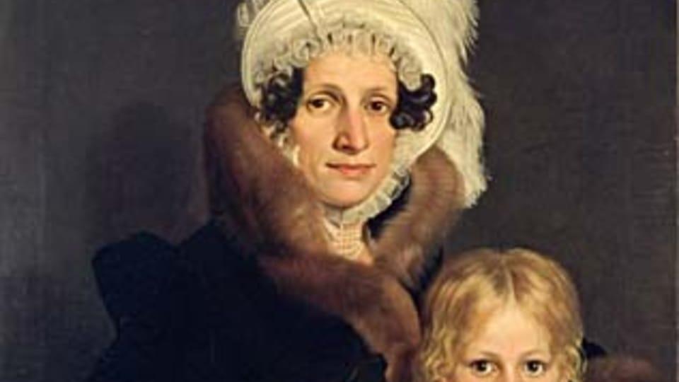 Antonín Machek,  Portrait de Josefa Daubková avec son fils Eduard,  1817