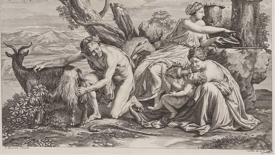 Guillaume Chasteau d'après Nicolas Poussin,  'Le petit Zeus nourri de lait de la chèvre Amaltheia',  1650-1683 / Galerie nationale