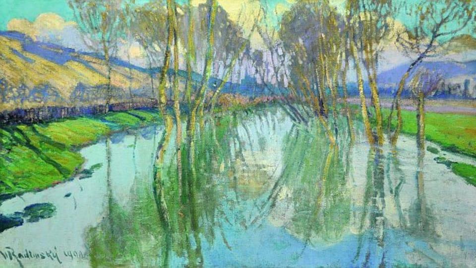 Reflets d'arbres sur la surface de l'eau,  1900