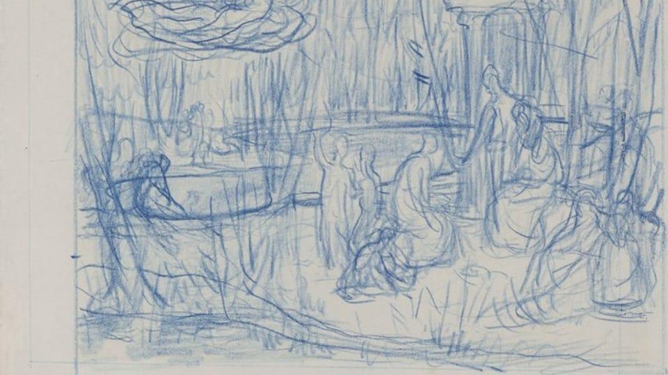 Pierre Cécile Puvis de Chavannes,  L'étude pour la peinture 'Le bois sacré',  1883-84 / Galerie nationale