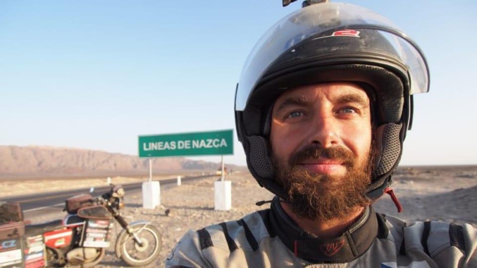 Pavel Suchý en Pérou,  photo: Pavel Suchý / Site officiel de Jawa kolem světa