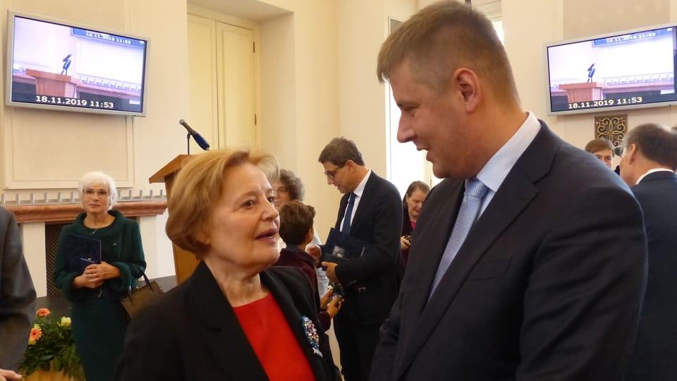 Magda Vašáryová et Tomáš Petříček,  photo: Klára Stejskalová
